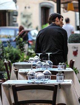 Restaurant, Glasses, Tables, Set