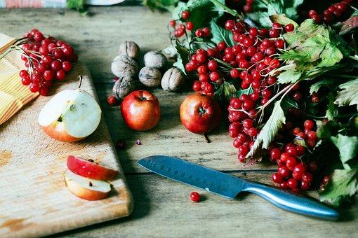 Apple, Knife, Viburnum, Flat Lay