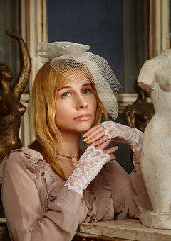 Portrait, Lady, Veil, Gloves, Lace, Cap, Romantic