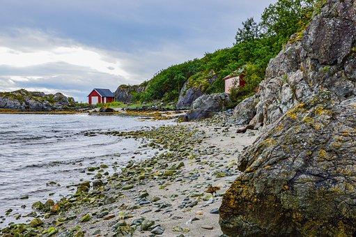 Beach, Hut, Sea, Norway, Ocean, Vacations, Landscape