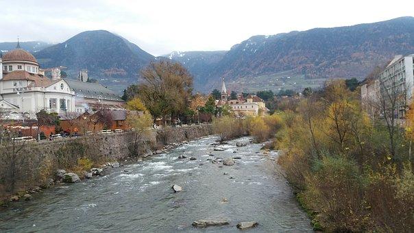 City, River, Flows, Landscape, Nature