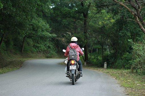 Human, Motorbike, Travel, Road, Trees