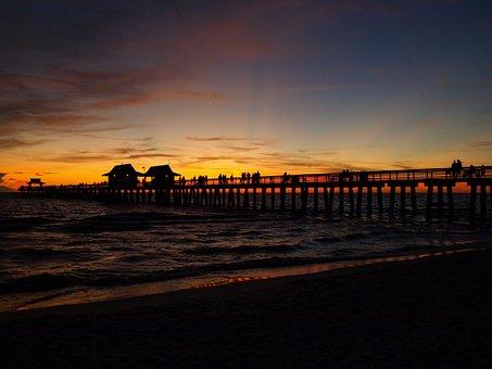 Naples, Sunset, Italy, Sea, Aqua, Beach, Sand