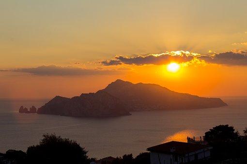Căpri, Naples, Italy, Nature, Sunset, Trip, Photo
