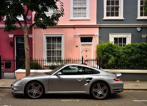 Nottinghill, England, London, Porsche, 911, Silver