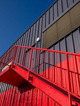 Warehouse, Hall, Red, Architecture, Building, Metal