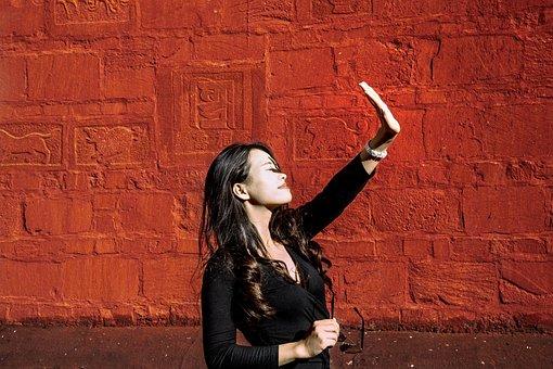 Women's, Beauty, Wall, Red Wall, Buddha