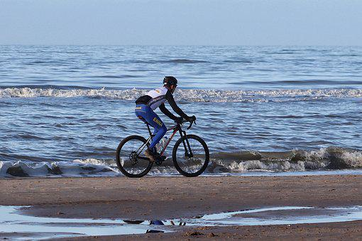 Sport, Bike, Cyclists, Sea, Beach, Beach Bike