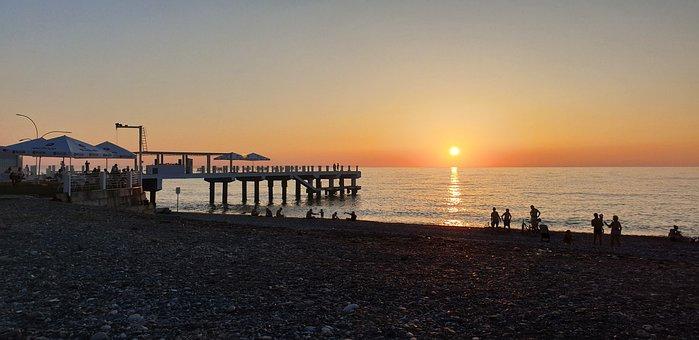Sun Set, Batumi, Georgia, City, Summer, Travel