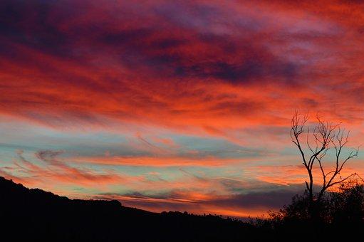 Sunset, Orange, Purple, Clouds, Sky
