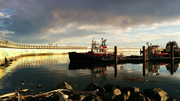 Breakwater, Sky, Clouds, Tugboat, Sunset