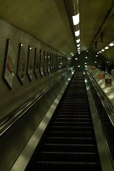 London Underground Escalators, Underground, Tunnel