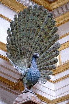 Image, Statue, Bird, Peacock, Feathers, Stone, Art