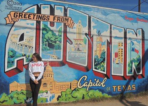Austin, Mural, Graffiti, Wall, Streetart, Girl