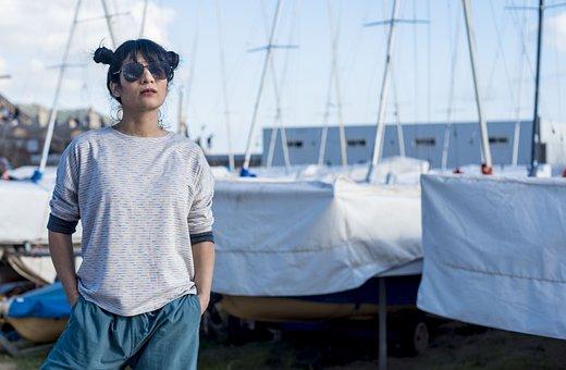 Girl, Boats, Bay, Beach, Glasses, Blue Glasses