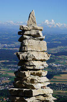 Cairn, Tower, Stone Tower, Stacked