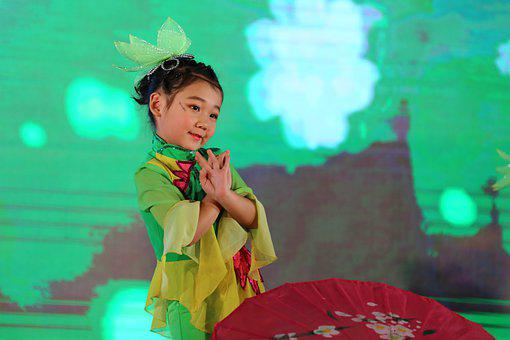 Children, China, Dance, Chinese Knot, Cute, Red