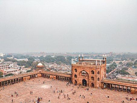 Delhi, Jama Masjid, Tower, Inside Jama Masjid, View