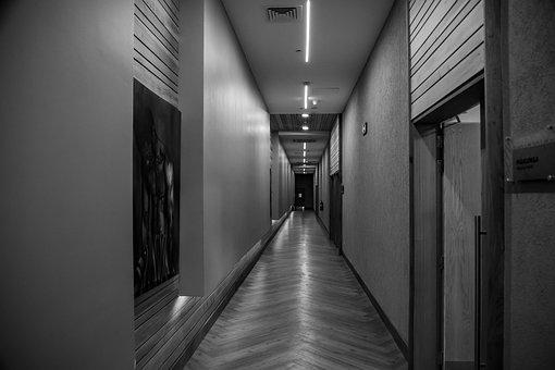 Earth Hour, Corridor, Black And White