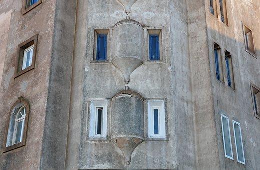 Morocco, Essaouira, Window, Tiled, Wall, Facade