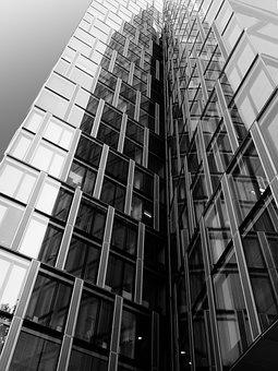 Skyscraper, Sw, Bw, Ffm, Frankfurt, Glass, Facades