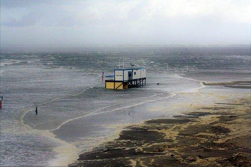 North Sea, Borkum, Winter, East Frisia, Flood, Forward