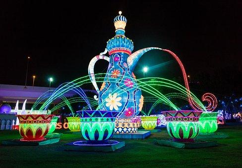 Dubai Garden Glow, Light Show, Tea Pot, Dubai
