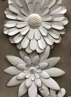 White, Metal, Flower, Daisy, Industrial