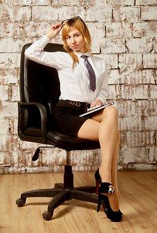 Office, Girl, Mini Skirt, Shirt, Manager, Woman, Work