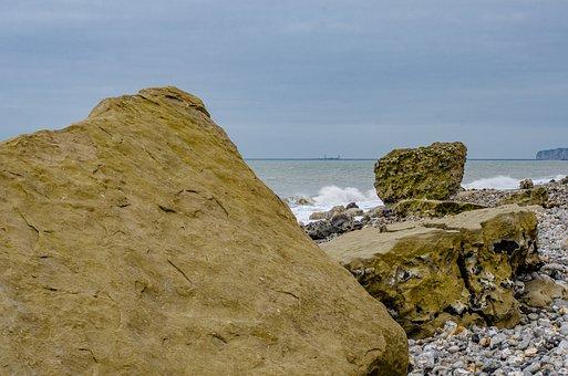 Beach, Rock, Sea, Side, Pebbles, Roller, Normandy