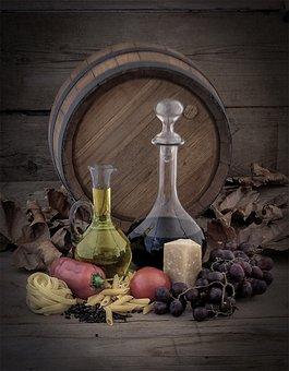 Wine Barrel, Oil, Wine, Grapes, Pasta