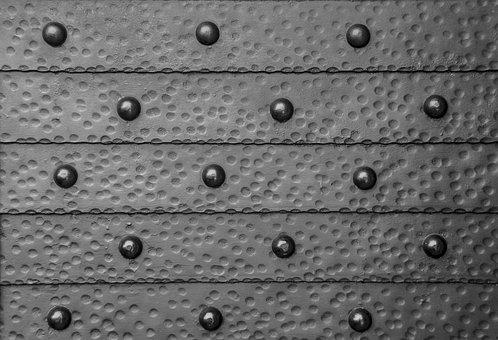 Door, Pins, Bolts, Metal, Old, Gray Door, Gray Metal