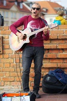 Man, Adult, Person, Glasses, Sun, Singing, Public