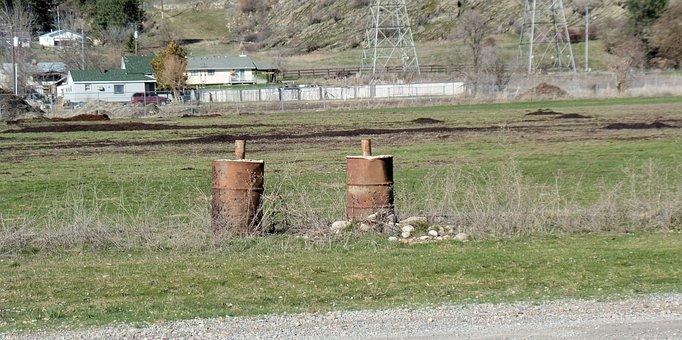 Rusty Barrels, Field, Barrels, Rust