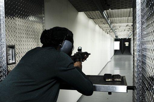 Woman, Shooting, Target, Gun, Shooting Range, Practice