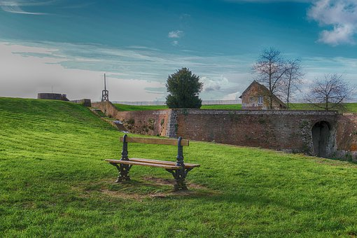 Landscape, Bench, Edge-of-sea, Side, Nature, Field