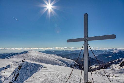 Mountains, Summit, Snow, Sun, Blue, White, Panorama