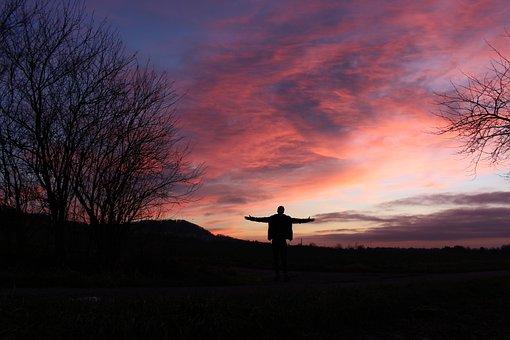 Sunset, Men, Walk, Picture, Alone, Landscape, Trail