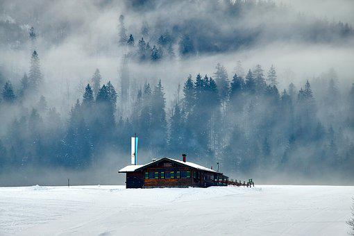 Winter, Hut, Landscape, Fog, Ski Lodge