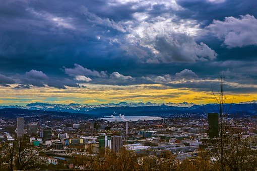 Zurich, Lake, Clouds, Snow Mountains, City, Sky, Blue