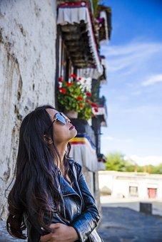 Woman, Girls, Sunglasses, Long Hair, Temple, Blue Sky