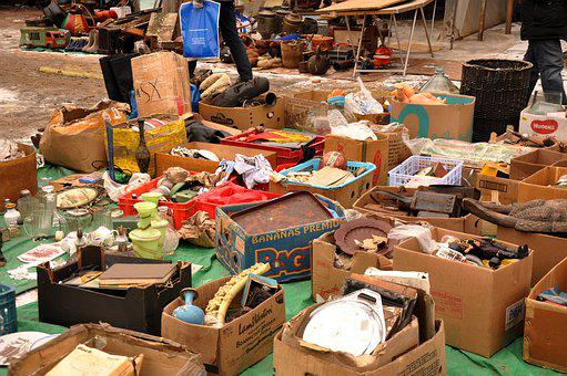 Flea Market, Sale, Flea, Market, Vintage, Boxes, Trash