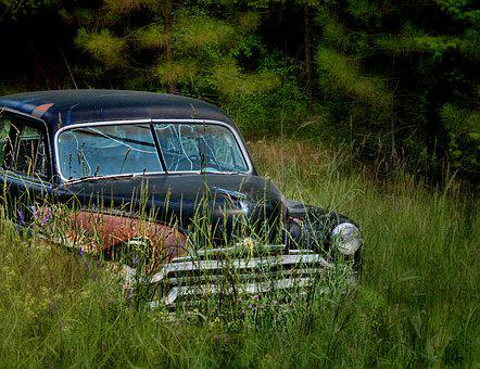 Cadillac, Weeds, Old Car, Abandoned, Junk, Aged