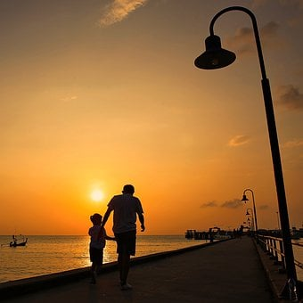 Sunsets, Relax, Caring, Orange, Seaside, Walk, Love