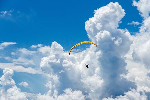 Clouds, Parachute, Paragliding, Sport