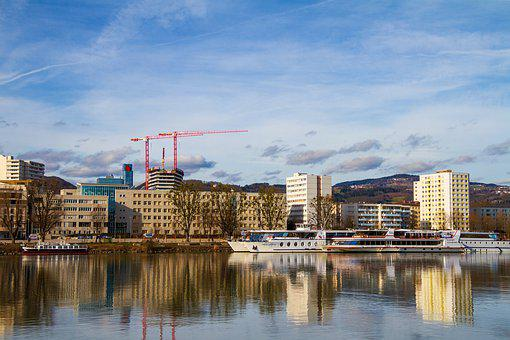 Linz, City, Austria, Danube, Bank, Shipping, Tourism