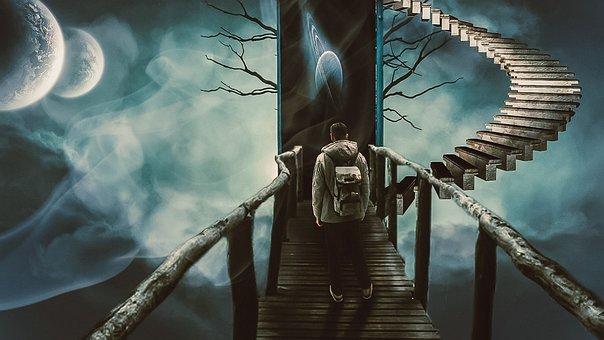 Aisle, Ladder, Boy, Looking, Photoshop, Sky, Door