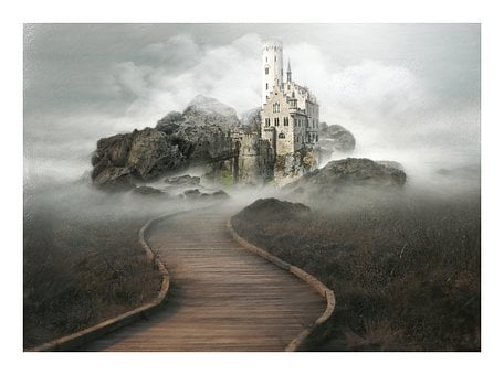 Castle, Fantasy, Magic, Way, Grass