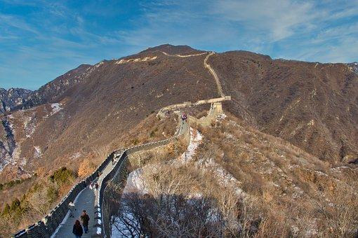 Mutianyu, Great Wall Of China, Mountains, Sky, Landmark