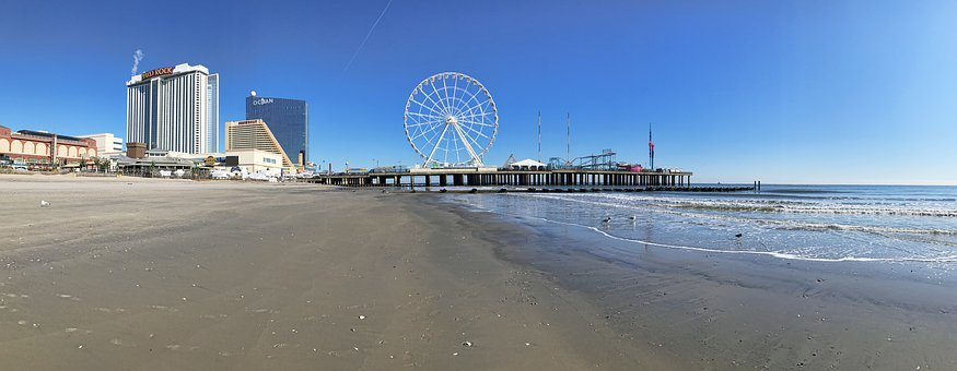 Atlantic City, Beach, Shore, Casino, Landscape, Ocean